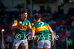 Paul Geaney celebrates with Brian Ó Beaglaoich, after he scored Kerry's first goal during the Munster GAA Football Senior Championship Final match between Kerry and Cork at Fitzgerald Stadium in Killarney on Sunday.