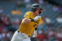 Cameron Swanger (13) of the Missouri Tigers hustles down the first base line against the Oklahoma Sooners in game four of the 2020 Shriners Hospitals for Children College Classic at Minute Maid Park on February 29, 2020 in Houston, Texas. The Tigers defeated the Sooners 8-7. (Brian Westerholt/Four Seam Images)