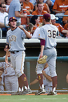 Arizona State Sun Devil pitcher Trevor Williams #43 greets teammate Kyle Ottoson #36 during their game against the Texas Longhorns in NCAA Tournament Super Regional Game #3 on June 12, 2011 at Disch Falk Field in Austin, Texas. (Photo by Andrew Woolley / Four Seam Images)