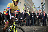 King Filip of Belgium (with  pink tie) waits for all riders to join the startgrid, before flagging off this 100th edition of 'La Doyenne' ('The Oldest')<br /> Notice cycling legend Eddy Merckx (BEL) on crutches to the right.<br /> <br /> Liège-Bastogne-Liège 2014