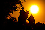 MAY13, 2021:  Scenes from track work as horses prepare  for the Preakness Stakes weekend of racing at  Pimlico Race Course in Baltimore, Maryland on May 13, 2021. EversEclipse Sportswire/CSM