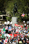 """Thousands of immigrants and their supporters rallied around the city today in solidarity, marking the """"Day Without Immigrants"""" celebrations nationwide. Walkouts, strikes and rallies were stages to show support for the legalization of undocumented workers.. Rally in Union Square in Manhattan.<br />"""