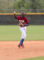 Juan Garcia participates in an international showcase hosted by JDB Baseball at the Quality Baseball Academy on February 20, 2018 in Santo Domingo, Dominican Republic (Bill Mitchell)