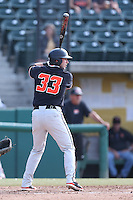 Logan Ice #33 of the Oregon State Beavers bats against the Southern California Trojans at Dedeaux Field on May 23, 2014 in Los Angeles, California. Southern California defeated Oregon State, 4-2. (Larry Goren/Four Seam Images)