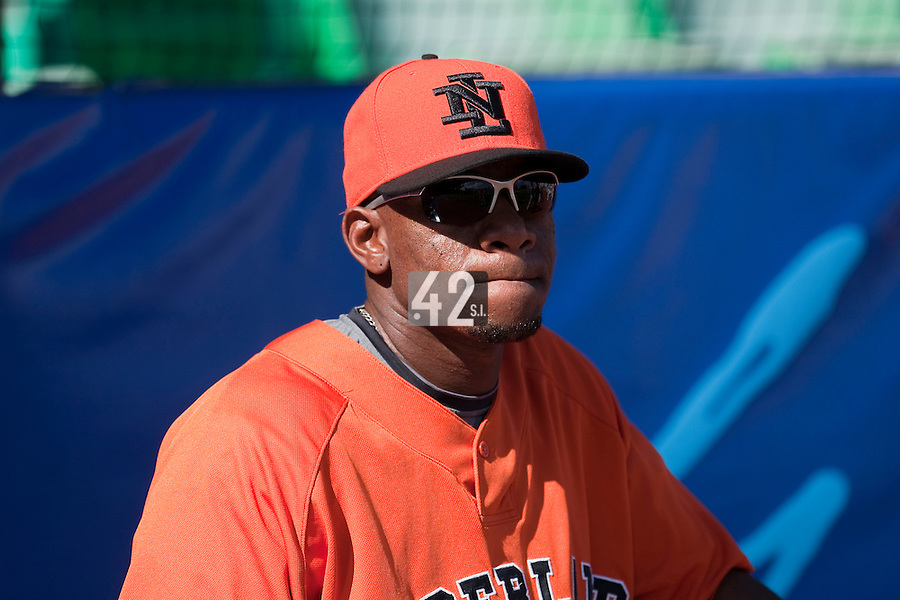 11 March 2009: #12 Sharnol Adriana of the Netherlands waits during batting practice prior to the 2009 World Baseball Classic Pool D game 6 at Hiram Bithorn Stadium in San Juan, Puerto Rico. Puerto Rico wins 5-0 over the Netherlands