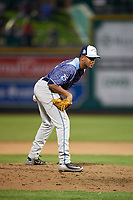 West Michigan Whitecaps relief pitcher Felix Viloria (12) looks in for the sign during a game against the Fort Wayne TinCaps on May 17, 2018 at Parkview Field in Fort Wayne, Indiana.  Fort Wayne defeated West Michigan 7-3.  (Mike Janes/Four Seam Images)