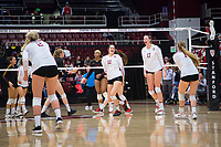 STANFORD, CA - November 15, 2017: Audriana Fitzmorris, Merete Lutz, Jenna Gray, Kathryn Plummer, Morgan Hentz at Maples Pavilion. The Stanford Cardinal defeated USC 3-0 to claim the Pac-12 conference title.