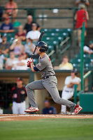Lehigh Valley IronPigs first baseman Mitchell Walding (10) follows through on a swing during a game against the Rochester Red Wings on September 1, 2018 at Frontier Field in Rochester, New York.  Lehigh Valley defeated Rochester 2-1.  (Mike Janes/Four Seam Images)