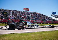 Apr 14, 2019; Baytown, TX, USA; NHRA top fuel driver Leah Pritchett during the Springnationals at Houston Raceway Park. Mandatory Credit: Mark J. Rebilas-USA TODAY Sports