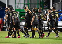 LAKE BUENA VISTA, FL - JULY 18: Mohamed El-Munir #13 of LAFC celebrates his goal with Diego Rossi #9 of LAFC and teammates during a game between Los Angeles Galaxy and Los Angeles FC at ESPN Wide World of Sports on July 18, 2020 in Lake Buena Vista, Florida.