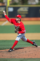 Radford Highlanders starting pitcher Danny Hrbek (7) in action against the Quinnipiac Bobcats at David F. Couch Ballpark on March 4, 2017 in Winston-Salem, North Carolina.  The Highlanders defeated the Bobcats 4-0 behind a no-hitter by Hrbek.  (Brian Westerholt/Four Seam Images)