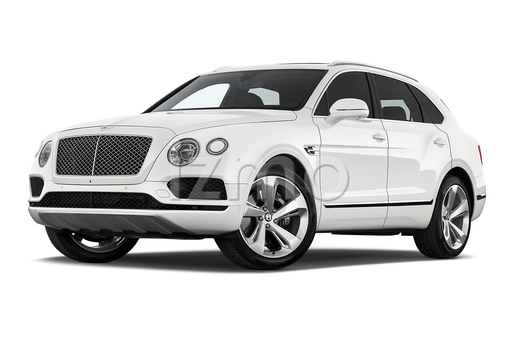 Stock pictures of low aggressive front three quarter view of 2019 Bentley Bentayga 4wd 5 Door SUV Low Aggressive