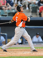 Infielder Nick Green (5) of the Norfolk Tides, International League affiliate of the Baltimore Orioles, in a game against the Scranton/Wilkes-Barre Yankees on June 20, 2011, at PNC Park in Moosic, Pennsylvania. (Tom Priddy/Four Seam Images)