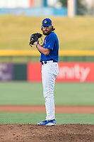 AZL Cubs 1 relief pitcher Dalton Geekie (33) gets ready to deliver a pitch during an Arizona League playoff game against the AZL Rangers at Sloan Park on August 29, 2018 in Mesa, Arizona. The AZL Cubs 1 defeated the AZL Rangers 8-7. (Zachary Lucy/Four Seam Images)