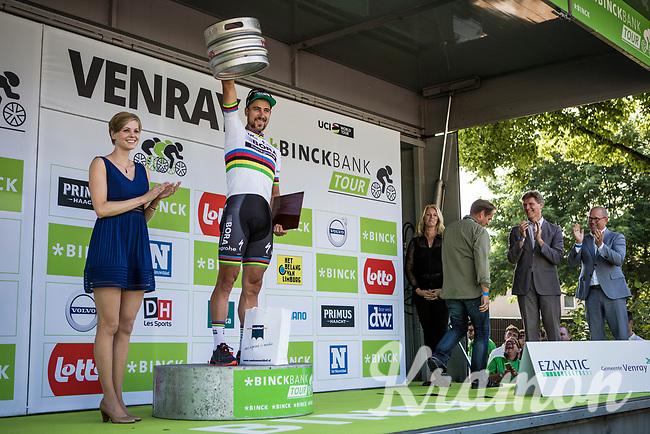 stage winner and 1st overall leader Peter Sagan (SVK/Bora-Hansgrohe) on the podium<br /> <br /> Binckbank Tour 2017 (UCI World Tour)<br /> Stage 1: Breda (NL) > Venray (NL) 169,8km
