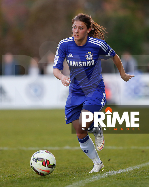 Hannah Blundell of Chelsea Ladies on the ball during the Women FAWSL match between Chelsea Ladies and Arsenal Ladies at Wheatsheaf Park, Staines, England on 30 April 2015. Photo by Andy Rowland.