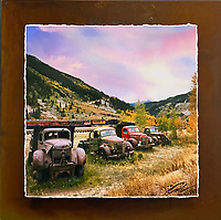 """Trucks of Autumn - Mixed Media - Colorado<br /> <br /> Each unique piece is made to order. If I have the piece in stock I can ship it in 2-3 days. If I don't have it in stock and it has to be made, it will ship in 1-2 weeks. Feel free to contact me at chey.rouse@gmail.com before you order if you need the piece ASAP. <br /> <br /> The photograph is printed on a Silk photo paper, the edges of the photo are torn, photo is mounted to foam board, then I mount it to an 8""""x8"""" piece of rusted metal. The rust is unique on each piece...no two pieces are alike. PLEASE keep in mind that the rust on the piece(s) you receive may be slightly different than the photo. Each piece of metal is sealed after it is done """"rusting"""" and is titled, hand signed and, ready to hang. To see the detail for theses Mixed Media pieces please click on the 1st photo in this gallery. You will be able to see the detail of the torn paper edge as well as the back of the piece. Just click on the piece that you like in this Gallery and then click the GREEN """"BUY"""" button in the left hand corner to add it to your cart."""