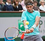 Rafael Nadal (ESP) defeats Dominic Thiem (AUT) 6-2, 6-2, 6-3 at  Roland Garros being played at Stade Roland Garros in Paris, France on May 29, 2014