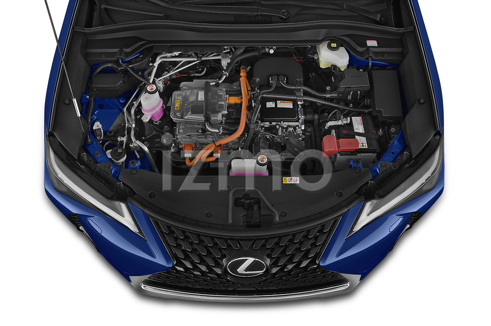 Car Stock 2021 Lexus UX-300e Privilege 5 Door SUV Engine  high angle detail view