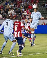 CARSON, CA - April 1, 2012: Roger Espinoza (15) of KC during the Chivas USA vs Sporting KC match at the Home Depot Center in Carson, California. Final score Sporting KC 1, Chivas USA 0.