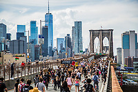 NEW YORK, NEW YORK - June 19: View of the Brooklyn Bridge with the demonstration that started from Grand Army Plaza on June 19, 2020. People gathered in New York in different places to celebrate June 15, which remembers the day in 1865. When Union soldiers freed slaves, all movements are celebrated in the context of protests against the murder of George Floyd and other African Americans by the police in the USA. USA (Photo by Pablo Monsalve / VIEWpress via Getty Images)