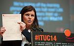 Berlin-Germany - May 21, 2014 -- International Trade Union Confederation - 3rd ITUC World Congress 'Building Workers' Power'; here, Eva Nordmark / TCO (Swedish Confederation for Professional Employees) -- Photo: © HorstWagner.eu / ITUC