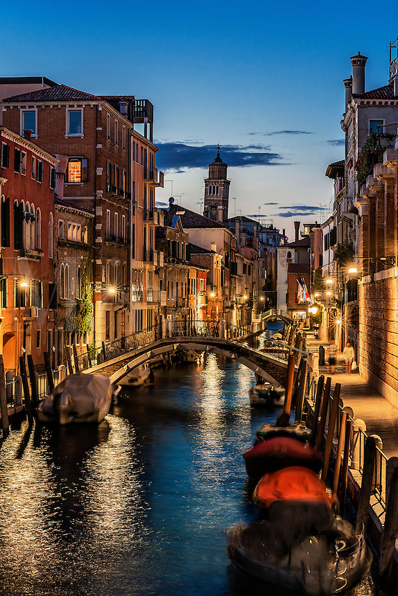Charming canal and Venitian architecture at dusk, Venice, Italy