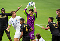 LOS ANGELES, CA - OCTOBER 25: Pablo Sisniega #23 of the LAFC saves a ball during a game between Los Angeles Galaxy and Los Angeles FC at Banc of California Stadium on October 25, 2020 in Los Angeles, California.