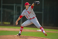 Orange Lutheran Lancers starting pitcher Cole Winn (22) in action against the Cypress Centurions at Cypress High School on March 17, 2018 in Cypress, California. The Lancers defeated the Centurions 6-5 in game one.  (Donn Parris / Four Seam Images)