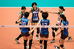 Team Japan celebrating during the FIVB Volleyball World Grand Prix match between Japan vs Russia on 23 July 2017 in Hong Kong, China. Photo by Marcio Rodrigo Machado / Power Sport Images