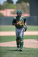 Oakland Athletics catcher Iolana Akau (49) during an Extended Spring Training game against the San Francisco Giants Orange at the Lew Wolff Training Complex on May 29, 2018 in Mesa, Arizona. (Zachary Lucy/Four Seam Images)