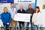 The staff of Borg Warner present a cheque of €1,700 to Pieta House in the factory on Monday. <br /> L to r: Kara Hotchkiss, Michael Maher, Con O'Connor (Pieta House), Paul Donovan (Borg Warner) and Ann Lennihan (Borg Warner).