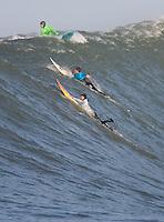 Darryl Flea Virostko, Dave Wassel, Grant Twiggy Baker. Mavericks Surf Contest in Half Moon Bay, California on February 13th, 2010.
