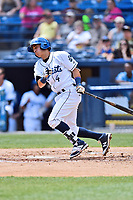 Asheville Tourists second baseman Jose Gomez (4) swings at a pitch during a game against the Greensboro Grasshoppers at McCormick Field on April 30, 2017 in Asheville, North Carolina. The Grasshoppers defeated the Tourists 7-0. (Tony Farlow/Four Seam Images)