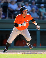 Catcher Eliezer Zambrano (16)  of the Augusta GreenJackets, Class A affiliate of the San Francisco Giants, in a game against the Greenville Drive on May 23, 2010, at Fluor Field at the West End in Greenville, S.C. Photo by: Tom Priddy/Four Seam Images