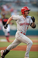 Chattanooga Lookouts Jonathan India (16) runs to first base during a Southern League game against the Birmingham Barons on July 24, 2019 at Regions Field in Birmingham, Alabama.  Chattanooga defeated Birmingham 9-1.  (Mike Janes/Four Seam Images)