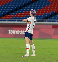 YOKOHAMA, JAPAN - JULY 30: Megan Rapinoe #15 of the USWNT celebrates her penalty kick during a game between Netherlands and USWNT at International Stadium Yokohama on July 30, 2021 in Yokohama, Japan.