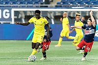 FOXBOROUGH, MA - OCTOBER 3: Derrick Jones #21 of Nashville SC dribbles at midfield during a game between Nashville SC and New England Revolution at Gillette Stadium on October 3, 2020 in Foxborough, Massachusetts.