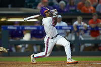 Jordan Greene (9) of the Clemson Tigers follows through on his swing against the Duke Blue Devils in Game Three of the 2017 ACC Baseball Championship at Louisville Slugger Field on May 23, 2017 in Louisville, Kentucky. The Blue Devils defeated the Tigers 6-3. (Brian Westerholt/Four Seam Images)