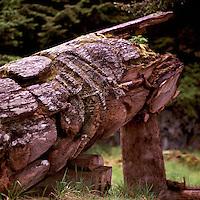 Ninstints (UNESCO World Heritage Site), Haida Gwaii (Queen Charlotte Islands), Northern BC, British Columbia, Canada - Historic Haida Mortuary Totem Pole on Anthony Island (Skung Gwaii), Gwaii Haanas National Park Reserve and Haida Heritage Site