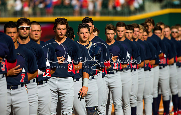 Sports Action photography of the USA Collegiate National Team and Cuba's National team at BB&T Ballpark in Uptown Charlotte, NC. <br /> <br /> Charlotte Photographer - PatrickSchneiderPhoto.com