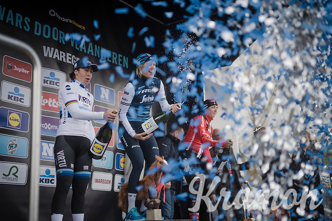 Ellen van Dijk (NED/Trek-Segafredo) wins Dwars door Vlaanderen 2019 (UCI Women Elite 1.1) ahead of Marta Bastianelli (ITA/Team Virtu Cycling) & Lucinda Brand (NED/Sunweb)<br /> <br /> One day race from Tielt to Waregem (106km)<br /> <br /> ©kramon