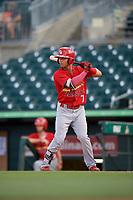 Palm Beach Cardinals center fielder Scott Hurst (7) at bat during a game against the Jupiter Hammerheads on August 4, 2018 at Roger Dean Chevrolet Stadium in Jupiter, Florida.  Palm Beach defeated Jupiter 7-6.  (Mike Janes/Four Seam Images)