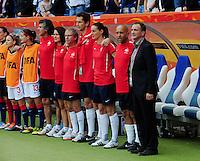 Fifa Women's World Cup Germany 2011 : Zweden - France Frankrijk at Sinsheim World Cup stadium : Bruno Bini en zijn team tijdens de Marseillaise.foto DAVID CATRY / Vrouwenteam.be