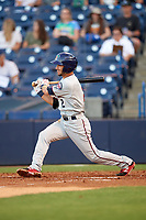Fort Myers Miracle second baseman Alex Perez (2) follows through on a swing during a game against the Tampa Yankees on April 12, 2017 at George M. Steinbrenner Field in Tampa, Florida.  Tampa defeated Fort Myers 3-2.  (Mike Janes/Four Seam Images)