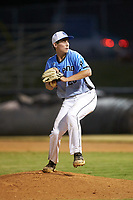 Dry Pond Blue Sox pitcher Seth Whitley (20) (North Lincoln HS) in action against the Mooresville Spinners at Moor Park on July 2, 2020 in Mooresville, NC.  The Spinners defeated the Blue Sox 9-4. (Brian Westerholt/Four Seam Images)