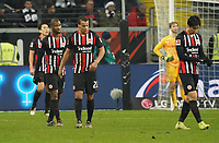 Frust bei Eintracht Frankfurt nach dem 2:4, Almamy Touré (Eintracht Frankfurt), Timothy Chandler (Eintracht Frankfurt), Makoto Hasebe (Eintracht Frankfurt) - 18.12.2019: Eintracht Frankfurt vs. 1. FC Koeln, Commerzbank Arena, 16. Spieltag<br /> DISCLAIMER: DFL regulations prohibit any use of photographs as image sequences and/or quasi-video.