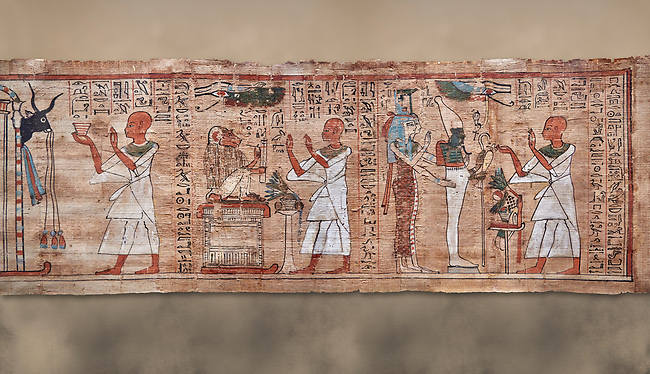 Ancient Egyptian Book of the Dead papyrus  - Aaner Book of the Dead, Thebes - 21st Dynasty (1076-943C).Turin Egyptian Museum. <br /> <br /> During the 21st Dynasty the number of spells in Books of the Dead was often reduced in favour of decrative panels. small illustrated vignettes take up a large part of the papytus surface