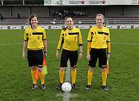 Finale Beker van West-Vlaanderen Vrouwen FC Knokke - SK Opex Girls Oostende :  scheidsrechterstrio met Joline Delcroix (links) , Kim Depickere (midden) en Heidi Houtthave (rechts)<br /> foto VDB / BART VANDENBROUCKE