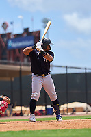 New York Yankees Jasson Dominguez (25) bats during an Extended Spring Training game against the Philadelphia Phillies on June 22, 2021 at the Carpenter Complex in Clearwater, Florida.  (Mike Janes/Four Seam Images)